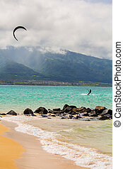 Kite Surfer on Beach - Maui kite surfer on shore at Kanaha...