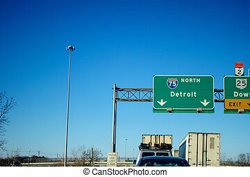 Interstate 75 Detroit - Northbound lane of Interstate 75...