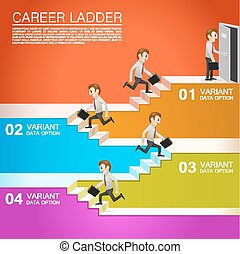 Office worker climbs the career Vector illustration