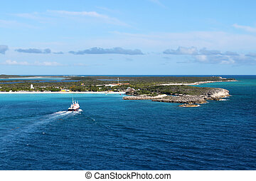 Half Moon Cay in the Bahamas - View of beach at Half Moon...