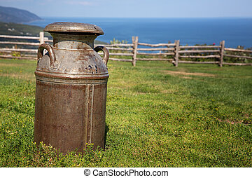 Milk churn - Old rusty milk churn in a field, with rustic...