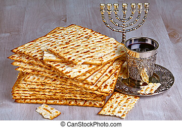 matzo with cup of wine