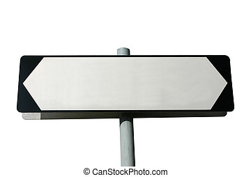 Blank street sign isolated on white - Add your own text