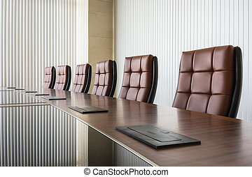 conference room - Modern conference room with brown leather...