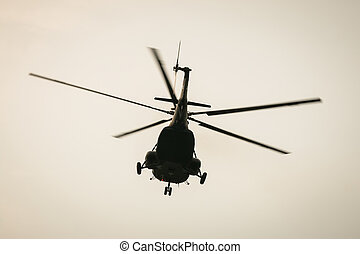 Helicopter Mi 17 or Mi 171 flying of army military in...