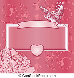 pink frame with heart, butterfly and roses