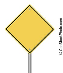Warning Sign - blank yellow warning sign on white background