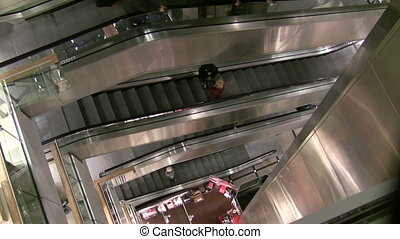 Department Store Escalators and Elevator - Metallic...