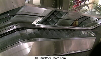 Department Store Escalator - Metallic department store...