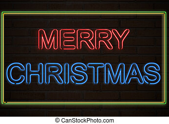 Merry Christmas - A neon sign on a brick wall say Merry...