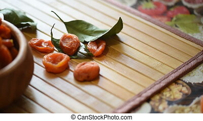 Dried apricots in a bowl, fruit