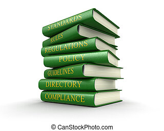 Stack of compliance and rules books Image with clipping path...