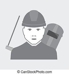 vector welder worker - vector illustration of welder with...