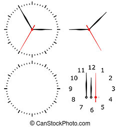 template clock with arrows and numbers isolated on a white...