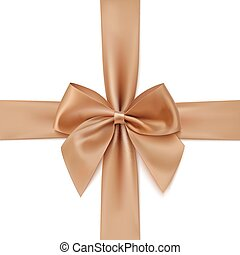 Realistic golden bow and ribbon isolated on white background.