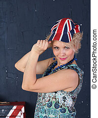 Adult woman in union jack cap
