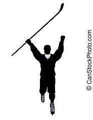 Male Hockey Illustration Silhouette - Male hockey art...