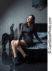 Girl with long legs on the bed. - Girl with long legs...