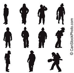 fire fighter silhouettes set