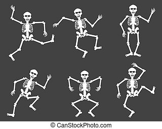 White skull dancer silhouettes - isolated White skull dancer...