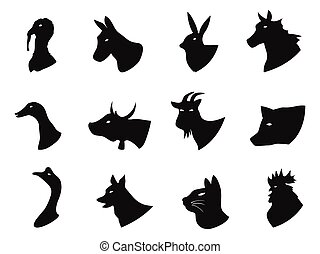 Farm animals icons set - isolated Farm animals icons set...