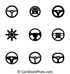 Vector steering wheels icon set on white background