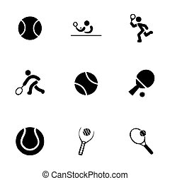 Vector tennis icon set on white background