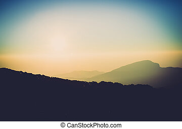Sunrise over the Mountains at Kew Mae Pan in the morning,...
