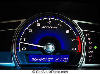 Mileage. - Dashboard of a car with a high mileage.