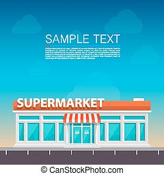 Supermarket on the roadside art. Vector illustration