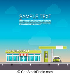 Supermarket on the roadside art Vector illustration