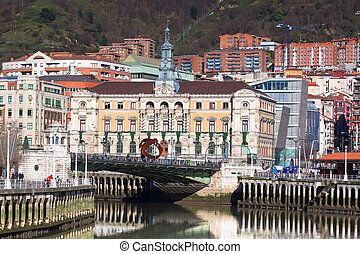 Bilbao, Basque Country, Spain cityscape at bright Sunny...