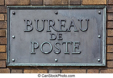 Bureau de Poste - French post office sign made of brass and...