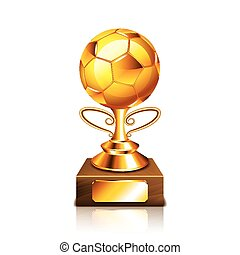 Golden ball figurine isolated on white vector - Golden ball...