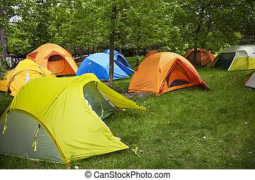 acampamento, locais, Barracas