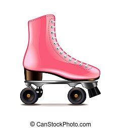 rodillo, patines, aislado, en, blanco, vector,