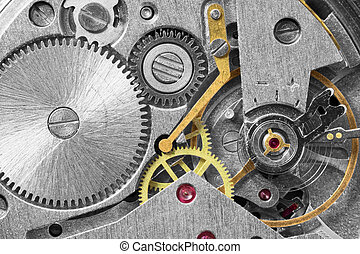 Ancient metal clockwork close up background