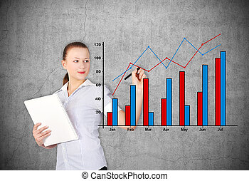 businesswoman drawing chart - businesswoman drawing stock...