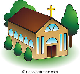 Church building with trees isolated on a white background.