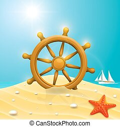 Beach with wheel of the ship Vector illustration