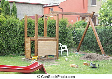 Construction of the playground.