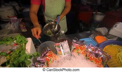Koh Samui, Thailand 15 july, 2014, Food Market. Cook...