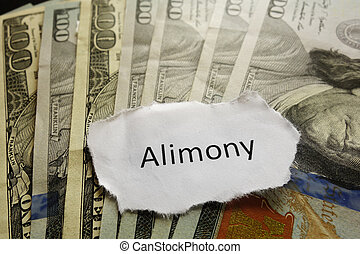 Alimony note - Closeup of Alimony paper note on cash...