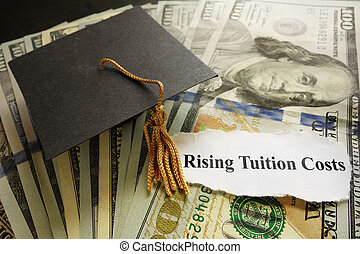 Tuition headlines - Graduation cap on cash with Rising...