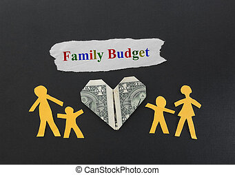 Family Budget - Paper cutout family of four with dollar...