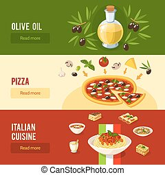 Italian Food Banner Set - Italian food horizontal banner set...