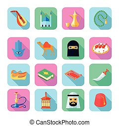 Arabic Culture Icon Flat - Arabic culture icons set with...