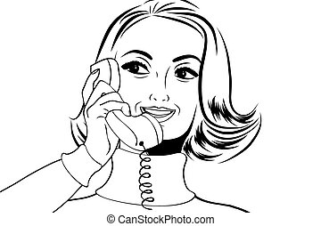 pop art retro woman in comics style talking on the phone