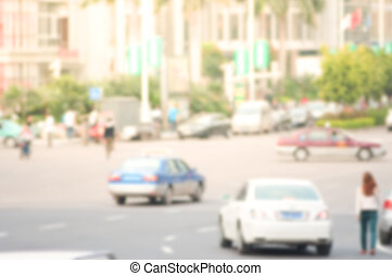 Urban scene of city with trafic and people - Blur background...