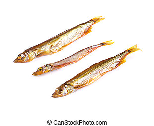 Goldish three anchovies. Isolated on the white background.